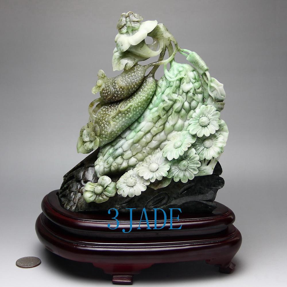 Natural dushan jade stone carving harvest statue