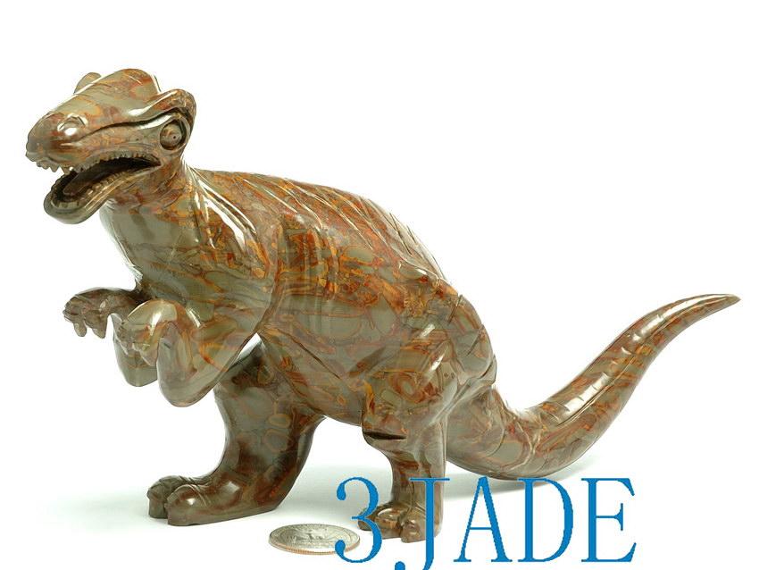 Hand carved jasper bamboo stone dinosaur tyrannosaurus