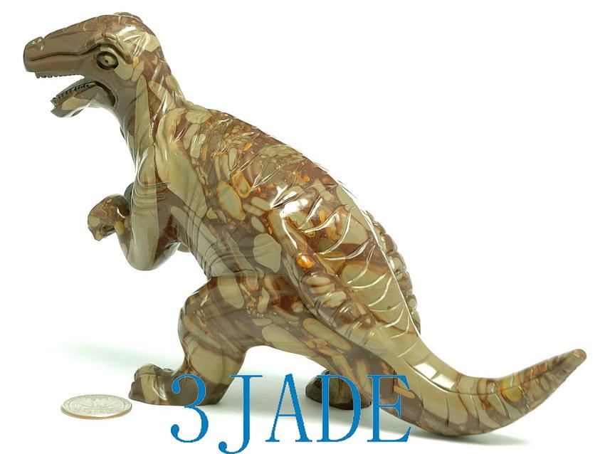 Natural jasper bamboo stone carving dinosaur statue