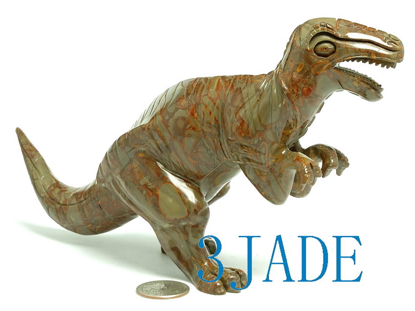 Natural jasper bamboo stone carving dinosaur statue ebay