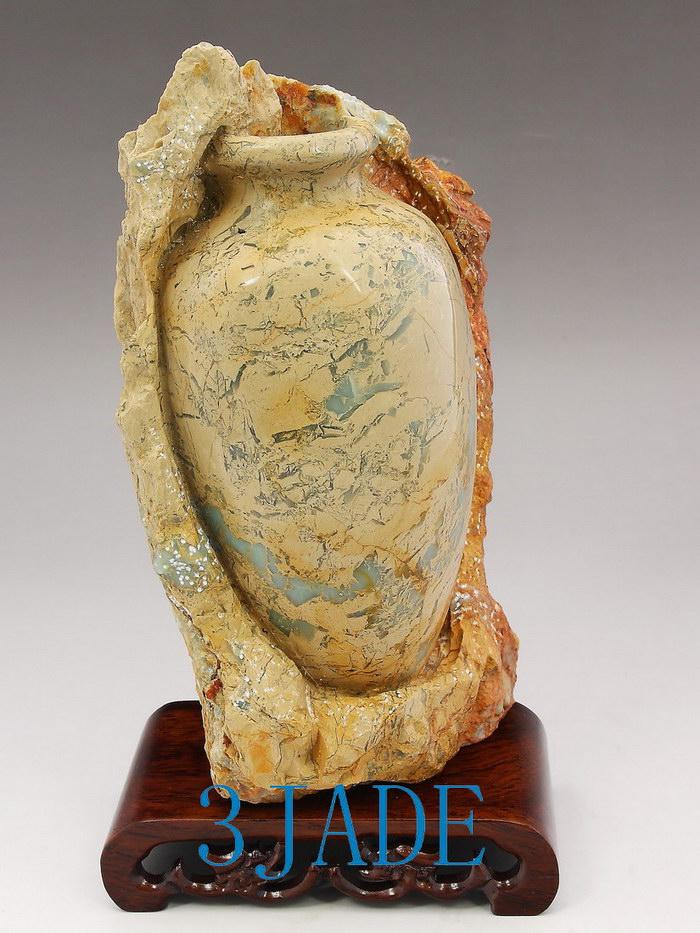Natural agalmatolite shoushan stone carving vase relic