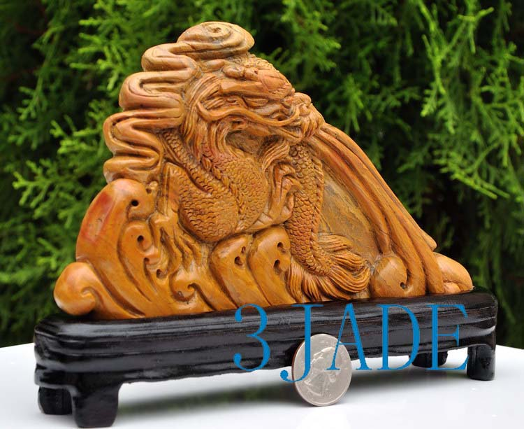 Natural shoushan stone carving dragon statue