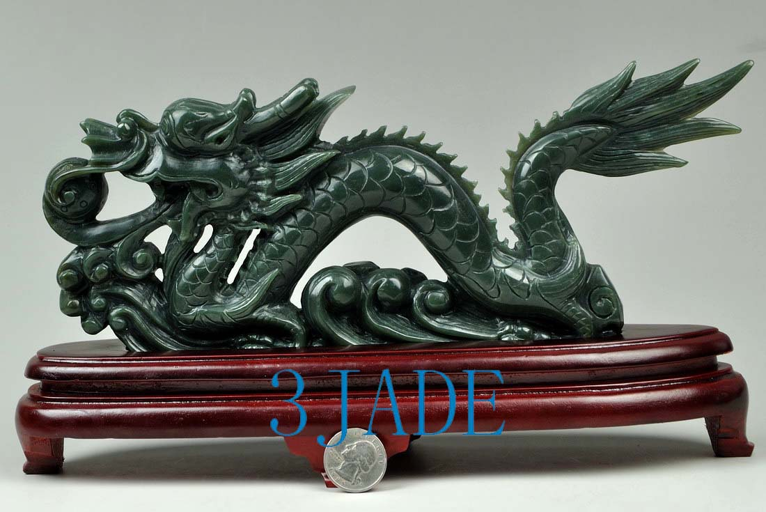 11 Hand Carved Natural Nephrite Jade Carving: Dragon
