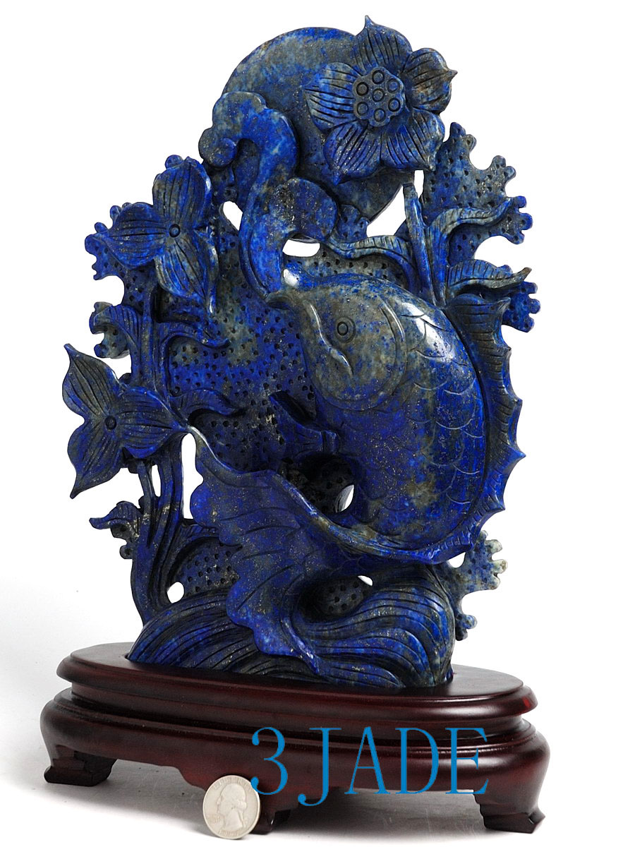 10 natural lapis lazuli carving koi fish statue for Koi fish statue