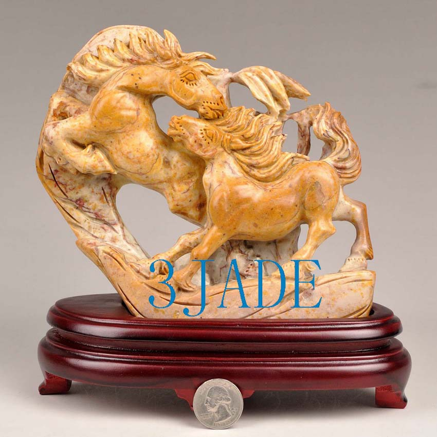 Natural shoushan stone horse statue sculpture