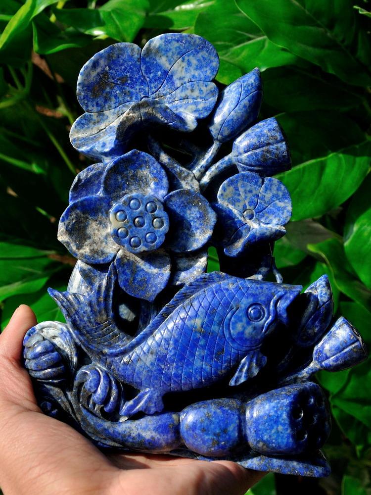 Natural lapis lazuli lotus koi fish statue gemstone for Wholesale koi fish