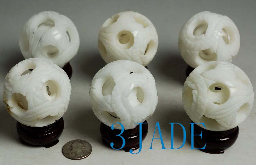 3 Hand Carved Natural White Marble Stone 3 Layers Magic